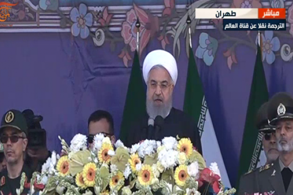 خلال استعراض للجيش الإيراني.. روحاني: أسلحتنا للردع وليست موجهة ضد دول المنطقة