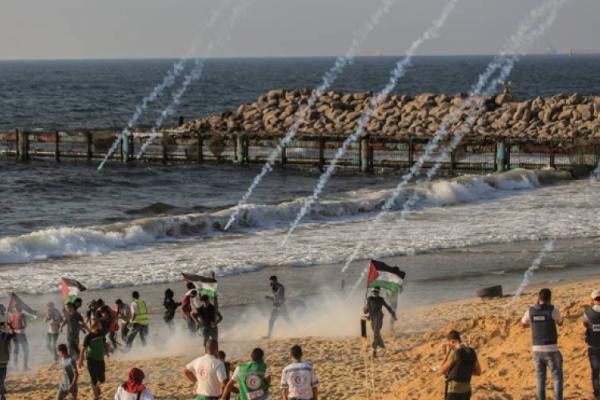 إصابة العشرات بنيران الجيش الاسرائيلي خلال المسير البحري في غزة!